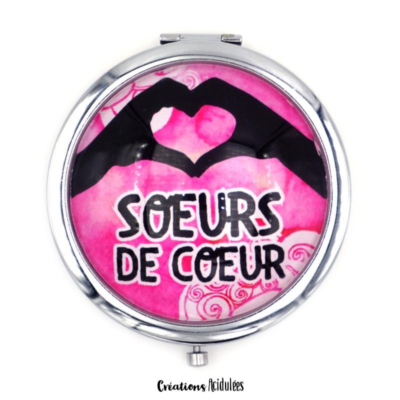 Miroir De Poche Sœurs De Coeur Rose