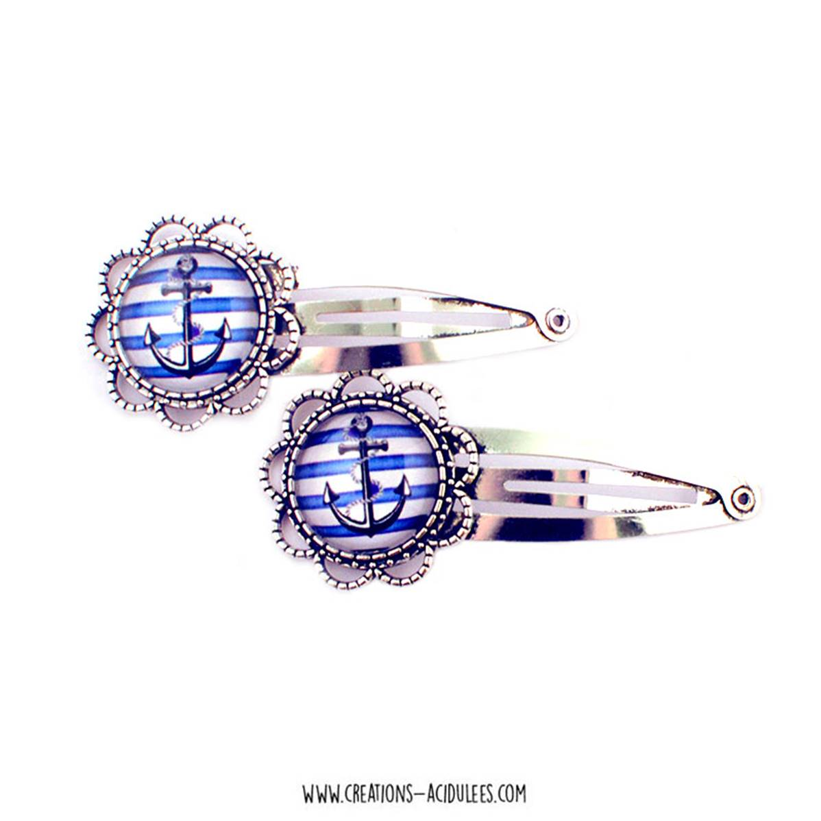 Barrettes pinces - Ancre marine