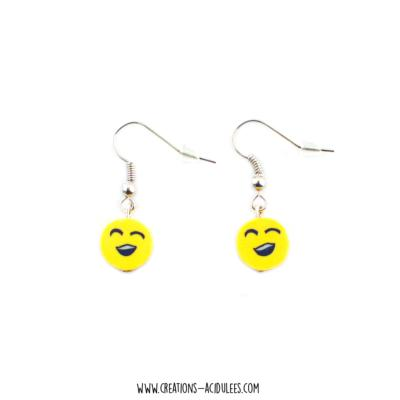 Boucles - perles - Smiley