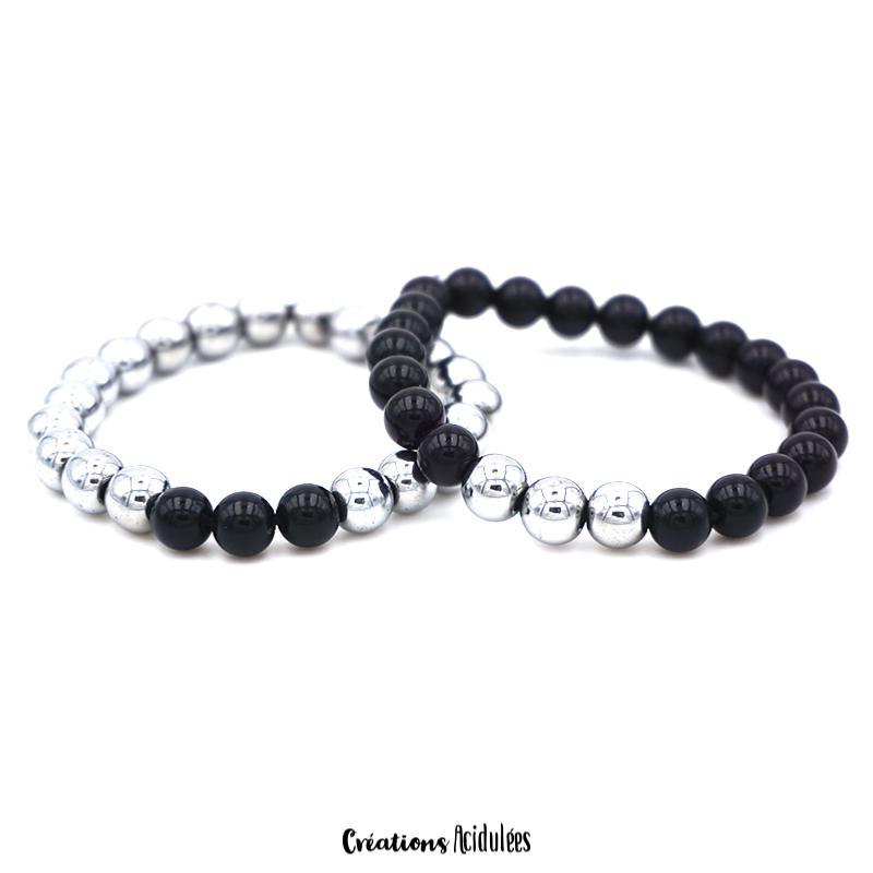 bracelet argent noir