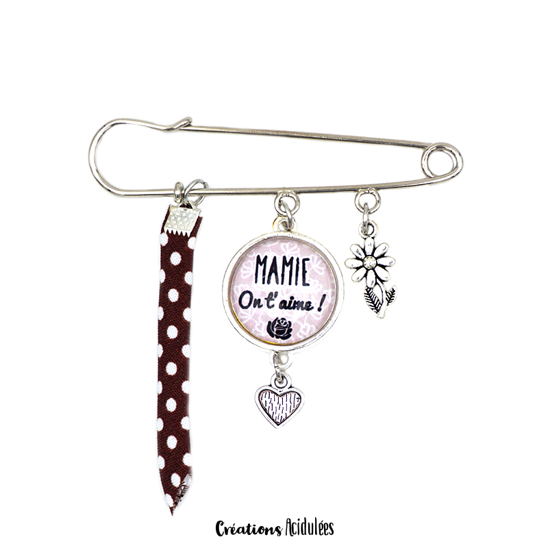 Broche - Mamie on t'aime (marron)