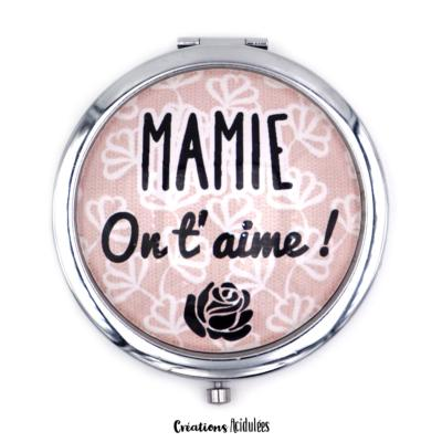 Miroir de poche - Mamie on t'aime (marron)