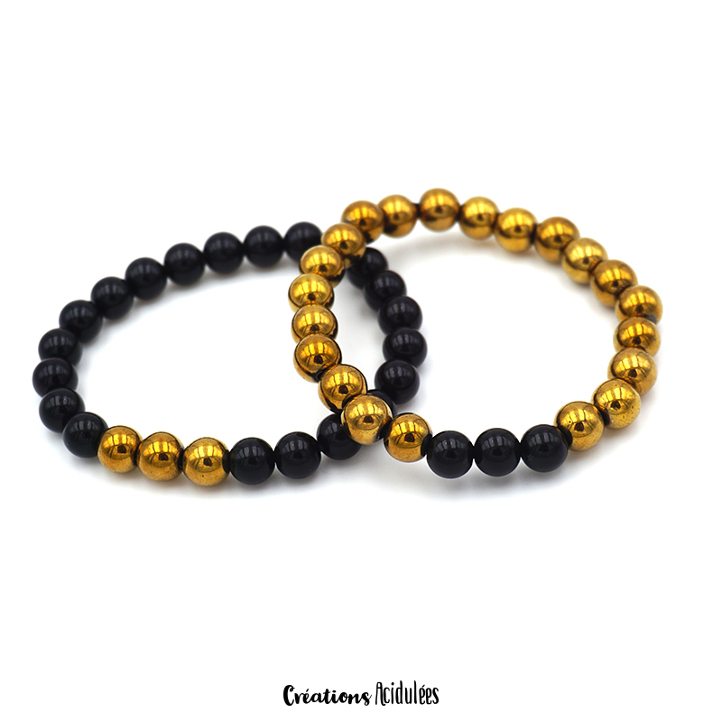 Bracelet perles - Couple (Or & Noir)