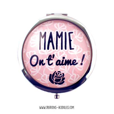 Miroir - cabochon - Mamie on t'aime (marron)