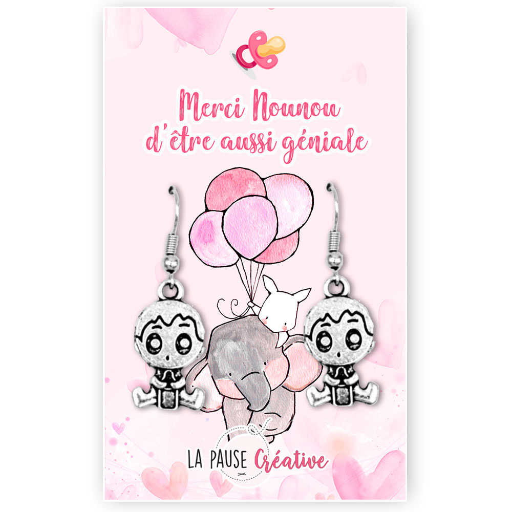 LPC - Nounou (version rose) - Boucles d'oreilles