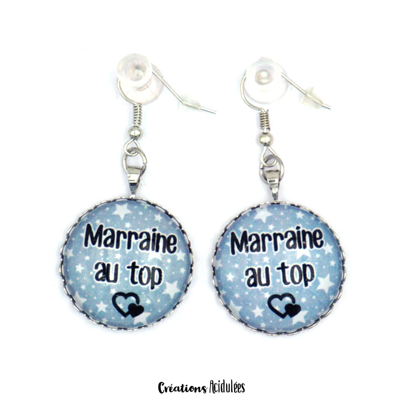 Boucles d'oreilles - Marraine au top (gris)